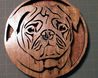 Pug Fretwork Portrait