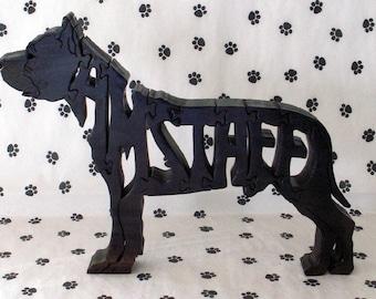 American Staffordshire Terrier Handmade Fretwork Jigsaw Puzzle wood