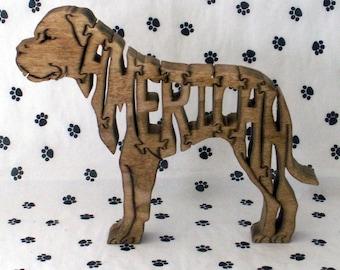 American Bulldog Handmade Fretwork Jigsaw Puzzle Wood Dog by dogWoodbyDave on Etsy