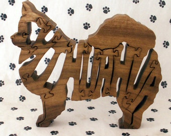 Long Haired Chihuahua Handmade Fretwork Jigsaw Puzzle Wood Dog
