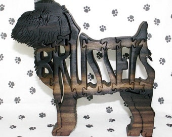 Brussels Griffon Handmade Fretwork Wood Dog Jigsaw Puzzle