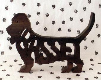 Basset Hound Handmade Wood Fretwork Jigsaw Puzzle