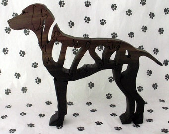 Vizsla Handmade Fretwork Jigsaw Puzzle Wood Dog
