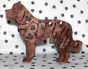 St. Bernard Handmade  Wood Fretwork Jigsaw Puzzle
