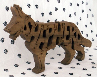German Shepherd Handmade Fretwork Jigsaw Puzzle Wood Dog