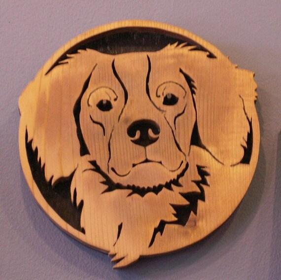 Brittany Spaniel Handmade Fretwork Wood Dog Art Breed Portrait