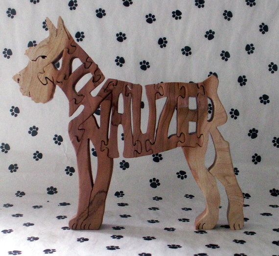 Schnauzer Handmade Fretwork Jigsaw Puzzle Wood Dog
