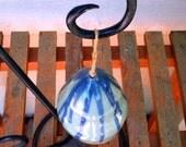 Ceramic Bell Celadon Green and Cobalt Blue Handmade by Daisy Friesen