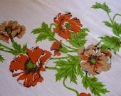 vintage linens- Orange Floral Print Linen Table Cloth, 1970's