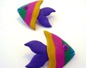 80's earrings- vintage neon tropical fish earrings - big 80s earrings