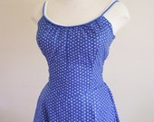 50s dress - blue polka dot seersucker sundress -  vintage dress
