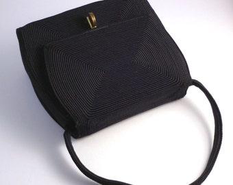 1940s corde handbag - 40s navy corde purse - evening bag