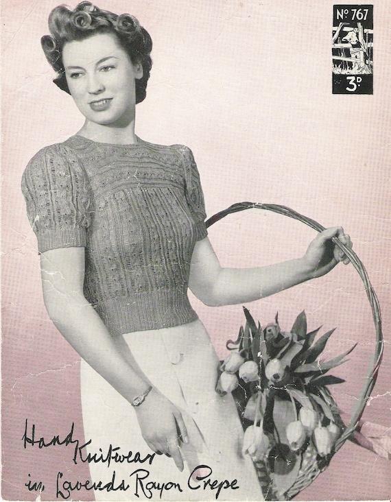 1940s Sewing Patterns – Dresses, Overalls, Lingerie etc 1940s knitting pattern - 40s sweater pattern - PDF file - instant download - short sleeve jumper - vintage knitting $3.09 AT vintagedancer.com