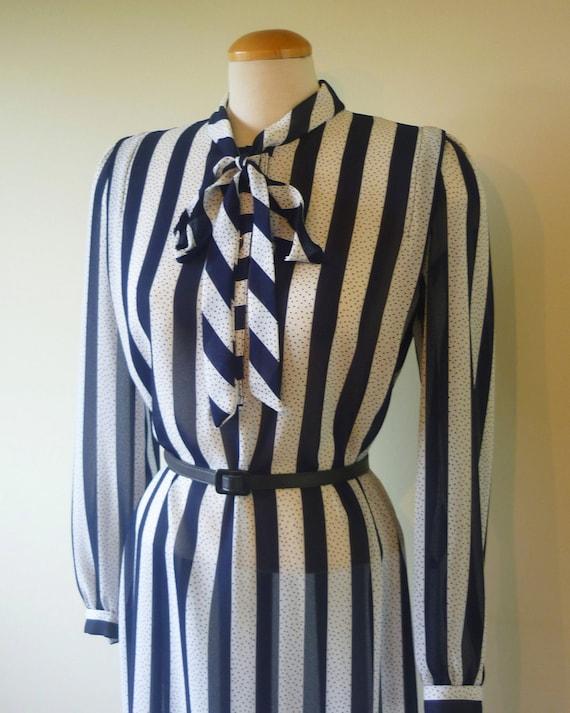 70s secretary dress - vintage dress - striped dress - blue and white -  vintage dress  - light - sheer