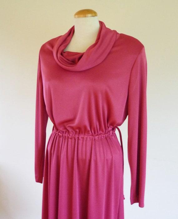 cowl neck dress - 70s rose disco dress - vintage dresses