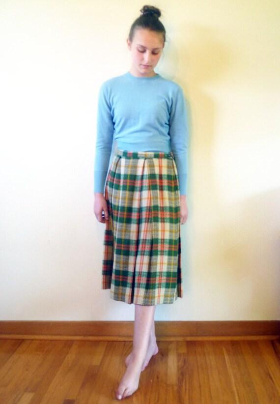 40s skirt - 1940s plaid wool pleated skirt