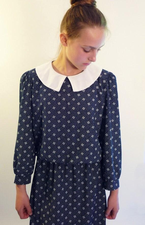 peter pan collar dress - 80s day dress - blue & white pin dot dress  - vintage dresses
