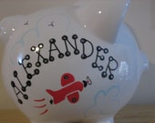 Personalized Large Piggy  Bank  Airplanes -Newborns , Boys , Baby Shower ,Ring Bearer Gift Centerpiece