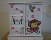 Personalized Monkey Musical Jewelry box-Pick your own colors- Gift for the flower girl ,birthday, christenings, communions