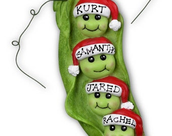Personalized Christmas Family Ornaments- Pea pod- Family of Four Grandkids Best Friends Coworkers