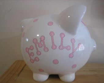 Personalized Piggy Bank Pink Polka Dots-Newborns ,Girls , Baby Shower Gift Centerpiece