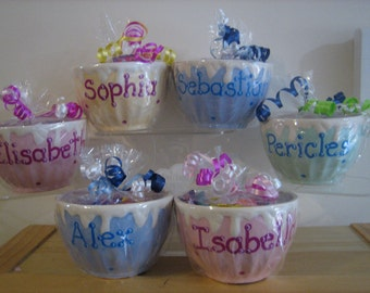 Personalized Ceramic Ice Cream Bowl  Cup Kids Party Favors-Birthdays,baby showers,Sweet 16s, Communions, Christenings