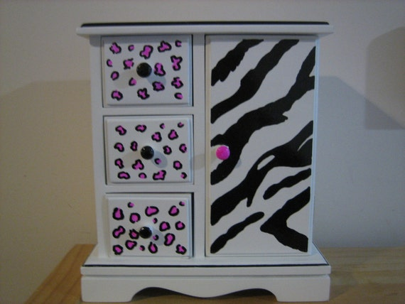 Personalized Musical Jewelry box- Leopard and Zebra Stripes- Great Gift for flower girl ,birthday, christenings, communions