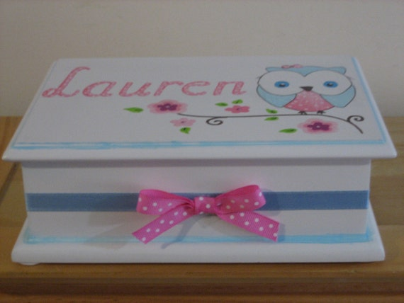 Personalized Musical Owl Jewelry Box.-Flower Girl , Birthday ,Communion , Christening, Newborn Gift