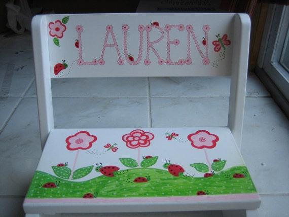 Personalized step stool- butterfly, flowers, ladybugs Kidsline - any theme- flower girl, ring bearer, newborn,gift