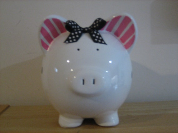Personalized Piggy  Bank Polka Dots and Stripes, pIink and black  -Newborns , Boys , Girls , Baby Shower Gift Centerpiece