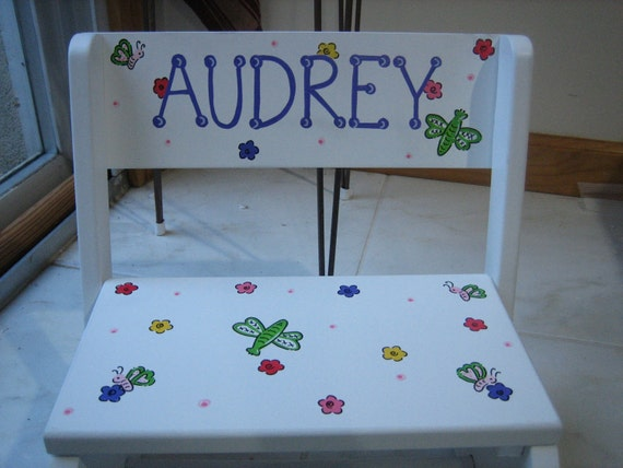Personalized step stool-polka dots, butterfly, flowers,dragonfly- any theme- flower girl, ring bearer, newborn,gift