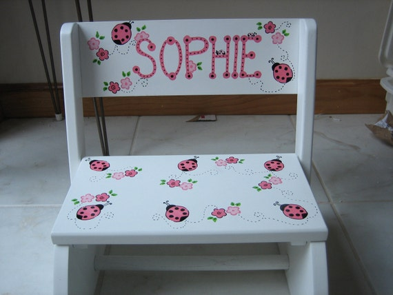 Personalized step stool Lady bugs and flowers --  ring bearer, newborn, baby shower, 1st birthday gift