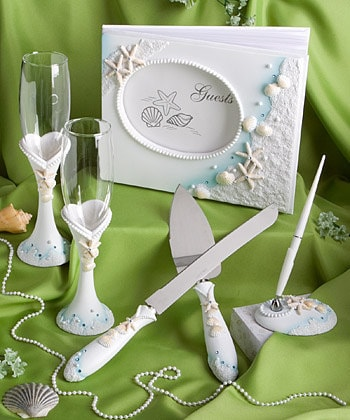beach theme wedding cake serving set theme wedding set guest book pen cake knife server 11164