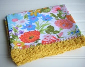 Floral Pillowcase with Crochet Edging, Vintage Fabric