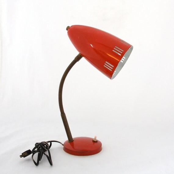 60s modernist RED florence Italy Italian gooseneck enamel metal desk TASK lamp MCM