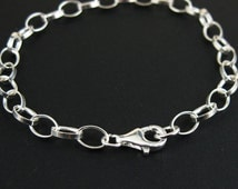 Sterling Silver Bracelet- Chunky Flat Cable Oval 7mm by 5mm ( 9.5 inches)-SKU: 601004