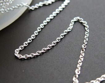 Sterling Silver Chain- Tiny Plain Cable Oval ( 10 feet or 120 inches)