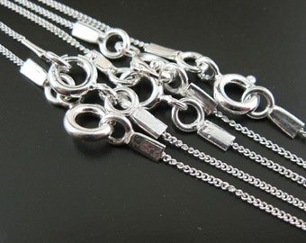 Sterling silver Chain -Tiny Curb -Finished Necklace for Pendant - 18 inches ( 5 pcs) -Save 5%, Whole Sale, Bulk Order - SKU: 601001