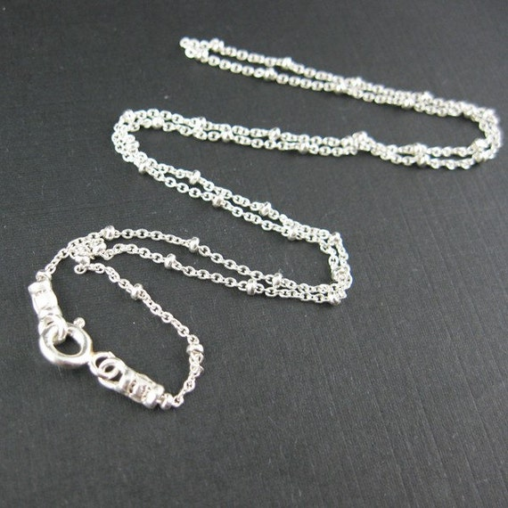 Sterling Silver Chain Necklace - Finished, Ready to Wear  - Cable Oval Link with Tiny Ball ( 22 inches - 1 piece) - SKU: 601006