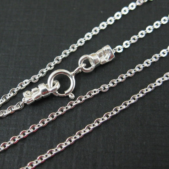 Sterling Silver Chain - Solid Flat Cable Chain - Finished , Ready to Wear - 16 inches ( 1 pc) - SKU: 601029
