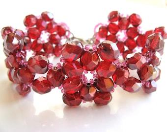 Handmade Ruby Red Beadweaved Flower Fire-Polished Glass Beaded Bracelet Unique, OOAK