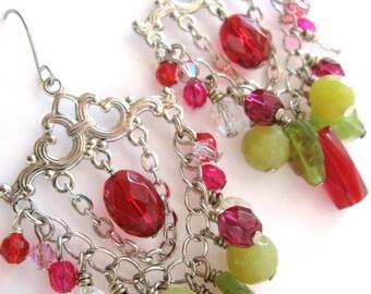 Chandelier Earrings, Leaf Earrings, Crystal Earrings, Statement Earrings, OOAK, Pale Yellow, Lime Green & Ruby Pink, Leaf Jewelry