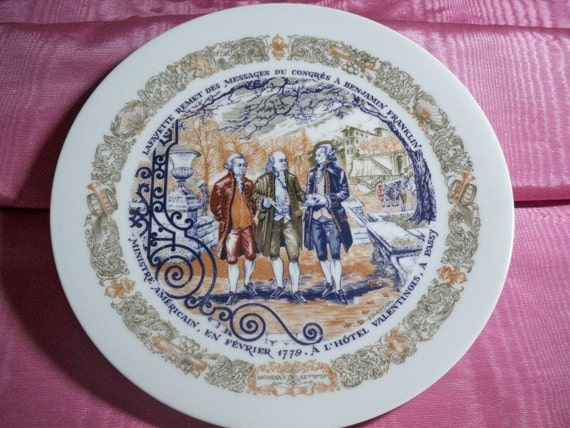 D'Arceau-Limoges Plate - Message to Franklin