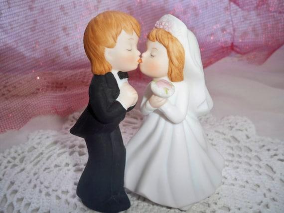 Wedding Cake Topper - Vintage Lefton Kissing Bride and Groom Cake Topper