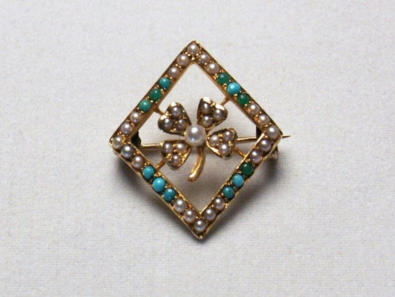 Sale - Edwardian Brooch With Pearls and Turquoise