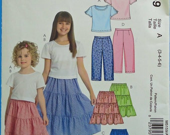 Girls Top, Skirts, Capri Pants Pattern McCall's M5159