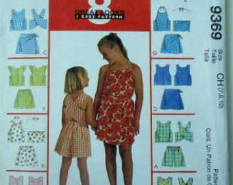McCall's 9369 Children's and Girls' Tops, Shorts and Skort Sets Size 7,8,10