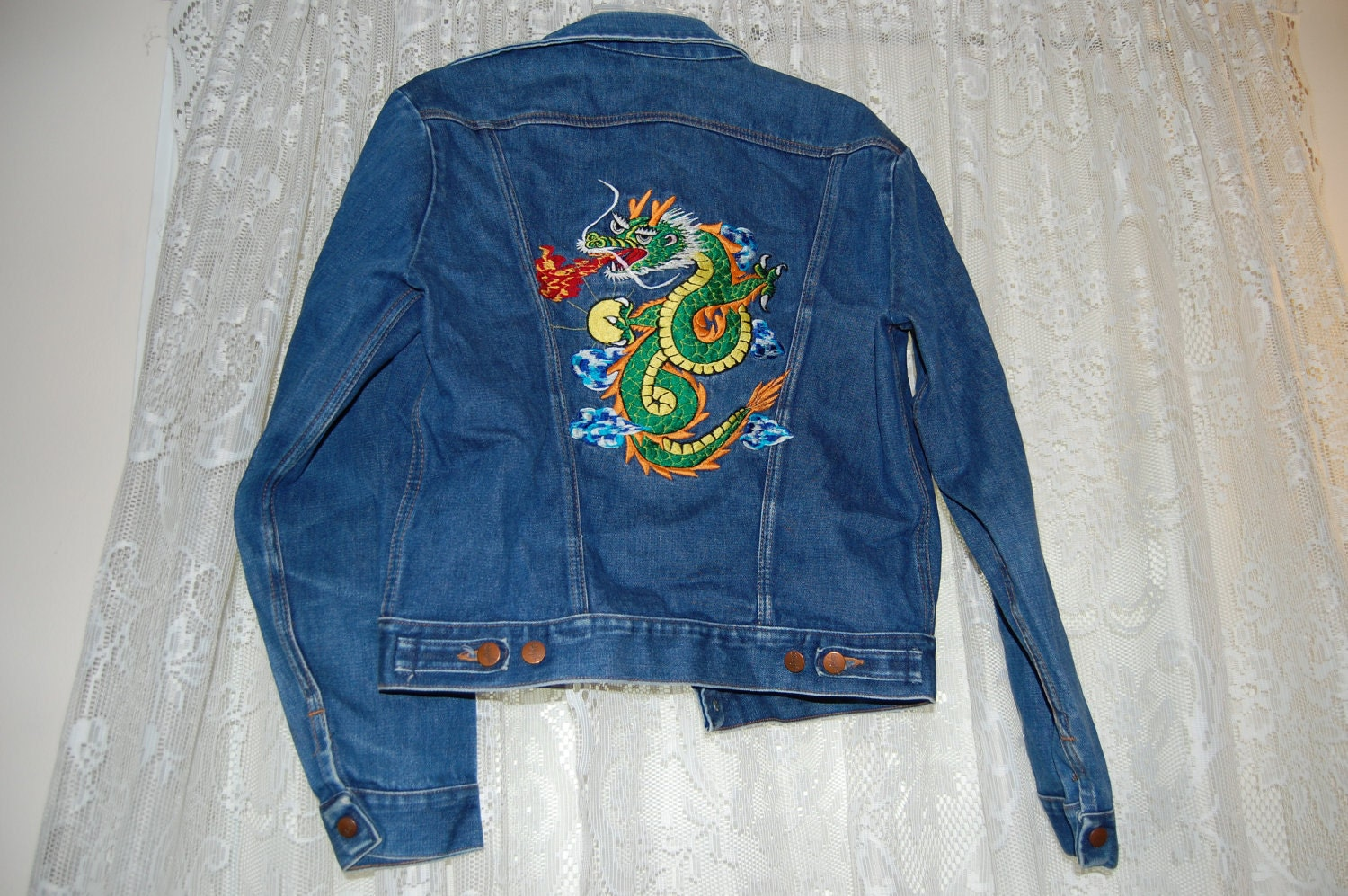 Wrangler Denim Jacket With Dragon Embroidery
