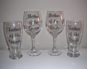 Parents of the bride parents of the groom reception personalized glasses