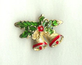 CHRISTMAS BELLS PIN,  Enameled Brass, 1970s, Vintage Holiday Costume Jewelry
